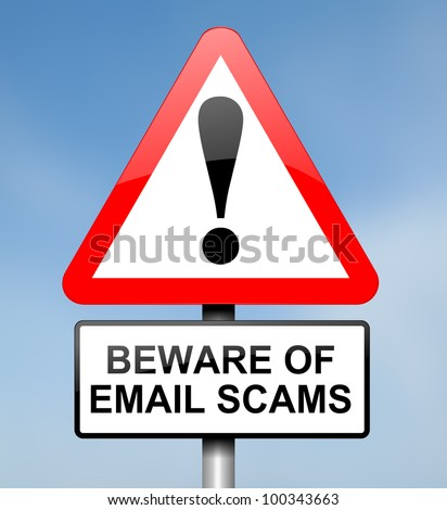 Illustration depicting red and white triangular warning road sign with an email scam concept. Blue blur background. - stock photo