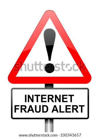 Illustration depicting red and white triangular warning road sign with an internet fraud concept. White background. - stock photo
