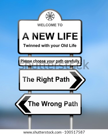 Illustration depicting road signs with a life change concept. Blurred background. - stock photo
