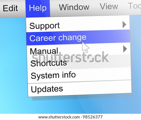 Illustration depicting text on a computer screen with a career change concept. - stock photo