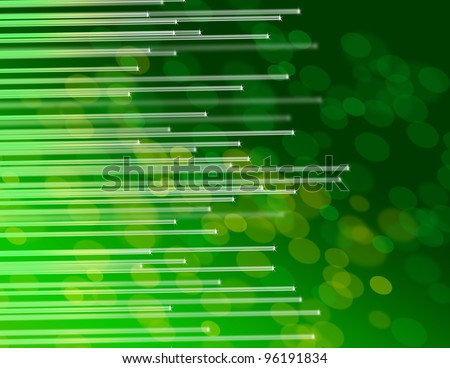 Illustration depicting the ends of many illuminated fiber optic strands against abstract green background. - stock photo