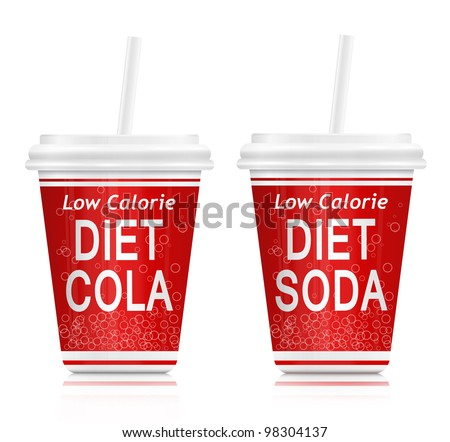 Illustration  depicting two fast food diet drink containers. Arranged over white. - stock photo