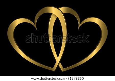 Illustration depicting two golden hearts arranged over black. - stock photo