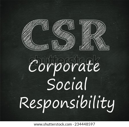 Illustration design of concept of csr - corporate social responsibility on black chalkboard - stock photo