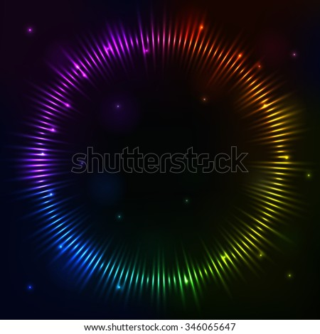 illustration digital spectrum equalizer as circle for radio, party, club, studio, dance, disco music. Colorful image sound wave in futuristic display - stock photo