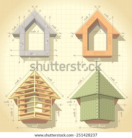 Illustration drawing phased construction of the house - stock photo