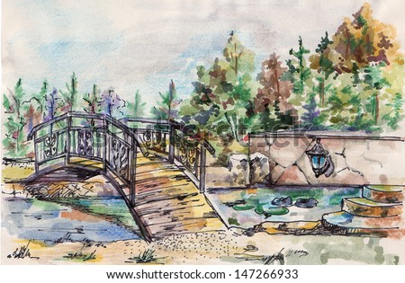 illustration, drawing, watercolor, ink, landscape - stock photo