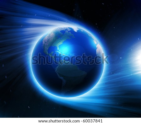 Illustration. Earth on a background of space with blue lines and lights - stock photo