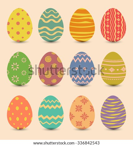 Illustration Easter set old ornamental eggs with shadows - raster - stock photo