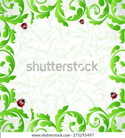 Illustration eco friendly background with copy space for your text - raster - stock photo