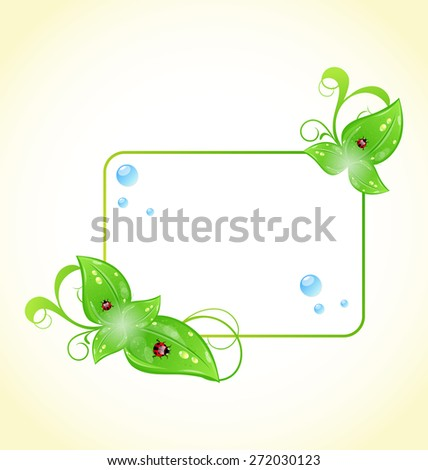 Illustration eco friendly frame with green leaves and ladybugs - raster - stock photo