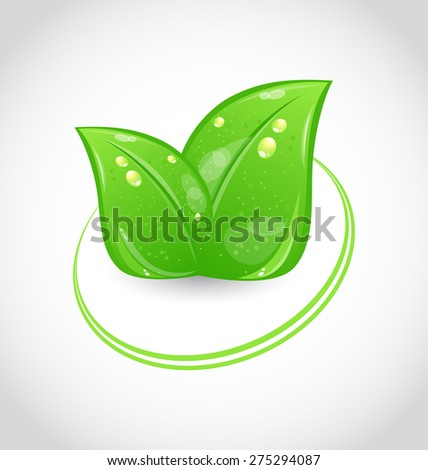 Illustration eco green design symbol with leaves - raster - stock photo