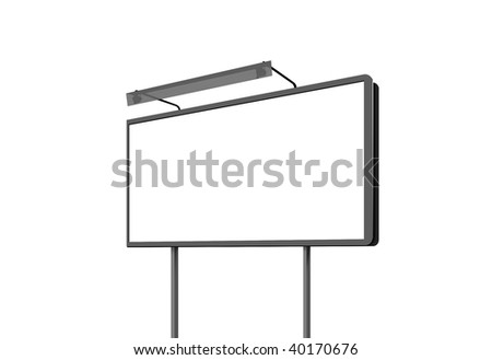 Illustration empty billboard on a white background - stock photo