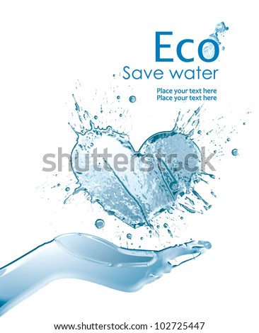 Illustration environmentally friendly of water,  from watercolor splash of paint,isolated on a white background. Save water. Think Green. Ecology Concept. - stock photo