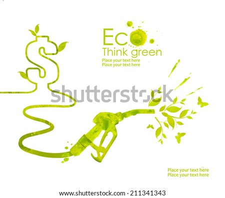 Illustration environmentally friendly planet.Green gas pump nozzle and biofuel, hand drawn from watercolor stains, isolated on a white background. Think Green. Eco and alternative energy concept. - stock photo