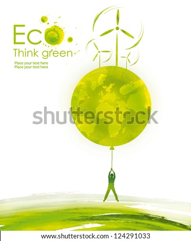 Illustration environmentally friendly planet.Green landscape, planet and wind-turbine, hand drawn from watercolor stains, isolated on a white background. Think Green. Eco Concept. - stock photo
