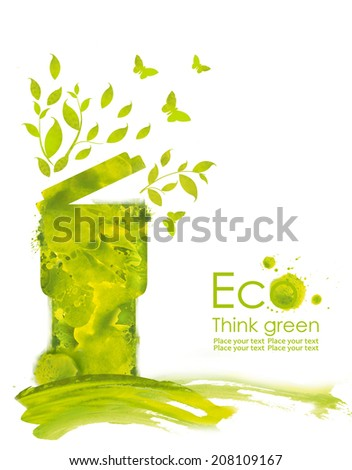 Illustration environmentally friendly planet. Green trash, grass , flowers and splash of paint,from watercolor stains,isolated on a white background. Think Green. Ecology Concept. - stock photo