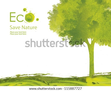 Illustration environmentally friendly planet. Green tree on the field from watercolor stains,isolated on a white background. Think Green. Ecology Concept. - stock photo