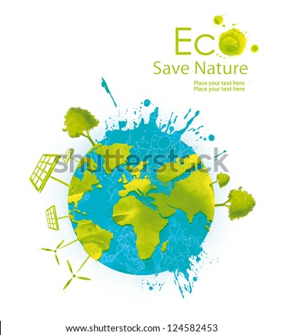 Illustration environmentally friendly planet. Green tree, solar panels and wind turbine on the world from watercolor stains,isolated on a white background. Think Green. Ecology Concept. - stock photo