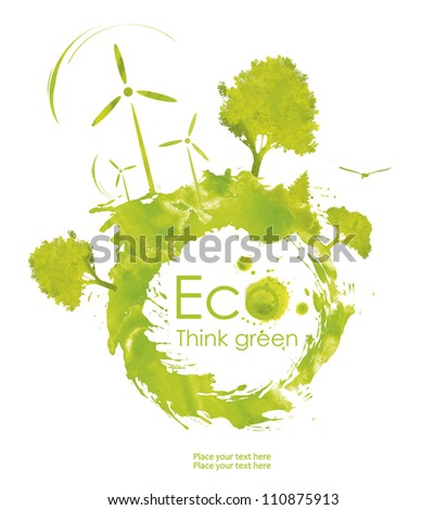 Illustration environmentally friendly planet. Green trees and  wind-turbine, hand drawn from watercolor stains,isolated on a white background. Think Green. Ecology Concept. forest - stock photo