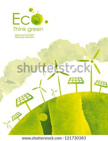 Illustration environmentally friendly planet. Solar panel and wind-turbine, hand drawn from watercolor stains, isolated on a white background. Think Green. Eco Concept. - stock photo