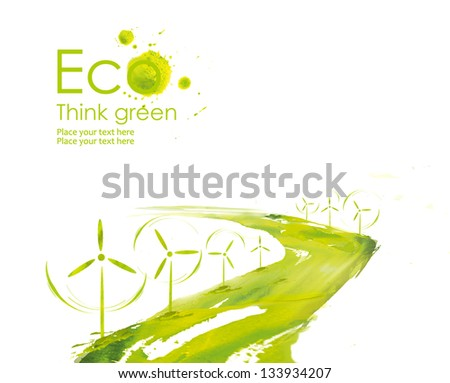 Illustration environmentally friendly planet. Wind turbine along the road planting  from watercolor stains,isolated on a white background. Think Green. Ecology Concept.. - stock photo
