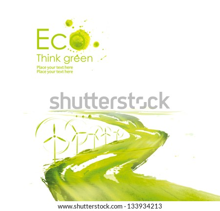 Illustration environmentally friendly planet.Wind turbine along the road planting  from watercolor stains,isolated on a white background. Think Green. Ecology Concept. - stock photo
