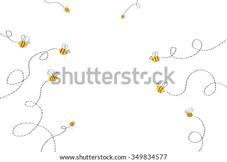 Illustration for Children: Bees Path. Realistic Fantastic Cartoon Style Artwork / Story / Scene / Wallpaper / Background / Card Design.  - stock photo