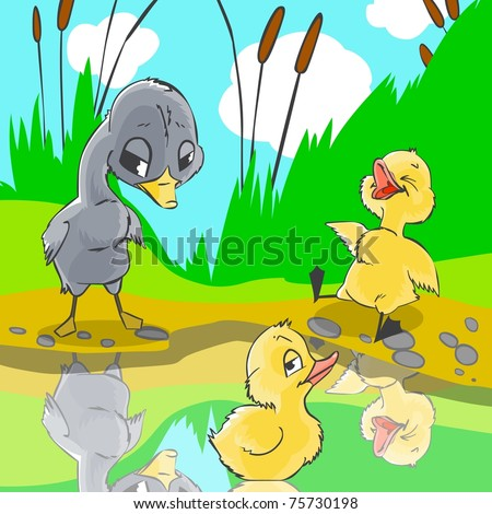 Illustration for fairytale Ugly duckling. Ducks mocked at ugly duckling. - stock photo