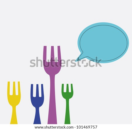 illustration - Forks say that it delicious. - stock photo