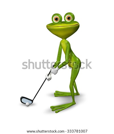 Illustration frog golfer on a white background - stock photo