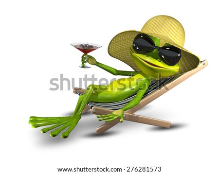 Illustration Frog in a Hat on a Deck Chair with a Sunglasses - stock photo