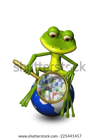 illustration frog on a globe with a magnifying glass - stock photo