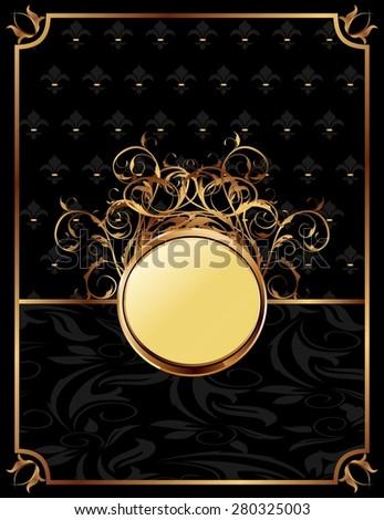 Illustration gold invitation frame or packing for elegant design - raster - stock photo