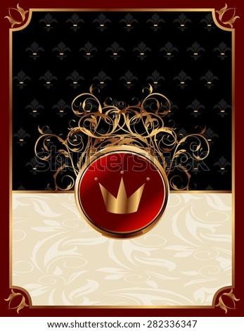 Illustration gold invitation frame with crown or packing for elegant design - raster - stock photo