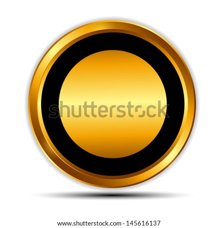 Illustration gold sign, label template - stock photo