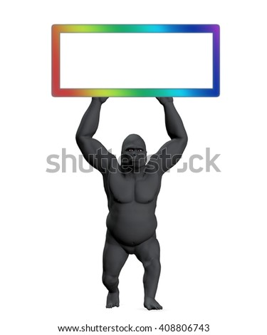Illustration gorilla holding up sign with copy space, copyspace blank rainbow colorful, 3D illustration - stock photo