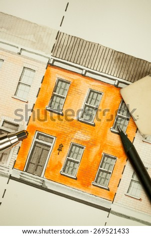 Illustration graphic material with orange shared twin elevation facade fragment with brick wall texture tiling shot with mechanical and ordinary pencils, symbolizing custom approach to building design - stock photo