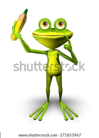 Illustration Green Frog with a Green Pencil - stock photo