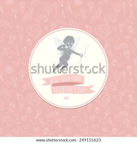 illustration Greeting card with cute Cupid. Festive Valentine's Day seamless pattern. Wish you a happy Valentine's Day - stock photo