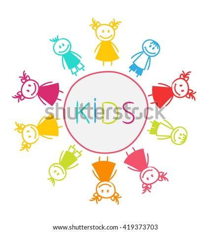 Illustration Hand-drawn Cute Funny Kids, Colorful Girls and Boys - raster - stock photo