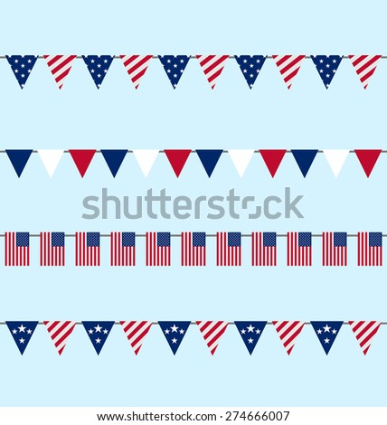 Illustration Hanging Bunting pennants for Independence Day USA, Set Traditional Flap Flags - raster - stock photo