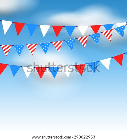 Illustration Hanging Bunting Pennants in National American Colors for Holidays, Blue Sky with Clouds - raster - stock photo