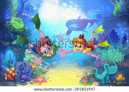 Illustration: Happy father's day in the sea - Diver version - Scene Design - Fantastic style - stock photo