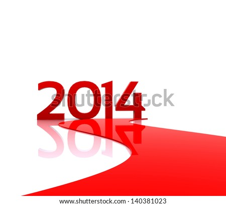 illustration - Here comes the new year ... 2014 - stock photo