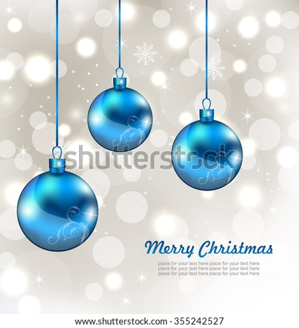 Illustration Holiday Background with Snowflakes and Christmas Balls - raster - stock photo