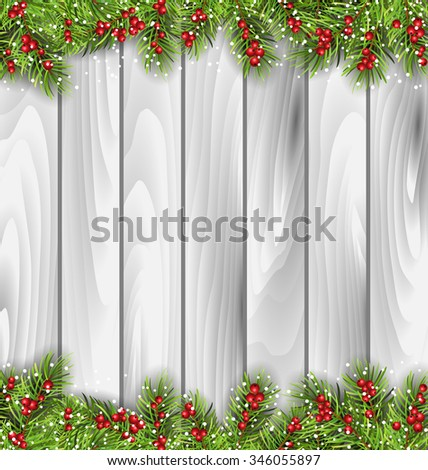 Illustration Holiday Wooden Background with Fir Branches and Berries, Copy Space for Your Text - raster - stock photo