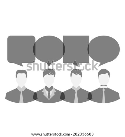 Illustration icons of businessmen with dialog speech bubbles, copy space for text - raster - stock photo