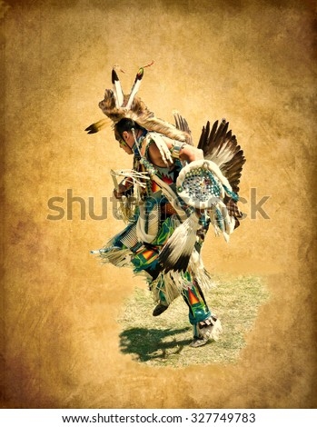 Illustration in grunge style. Native American in colorful dress decorated with feathers of an eagle and fur animals, performs dance of war - stock photo