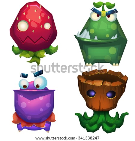 Illustration iSolated: Forest Monsters Set 1. Strawberry Monster, Green Skin Monster, Pelican Monster, Trunk Monster. Realistic Fantastic Cartoon Style Character Design.  - stock photo